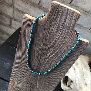 Navajo Turquoise & Sterling Silver Beaded Necklace